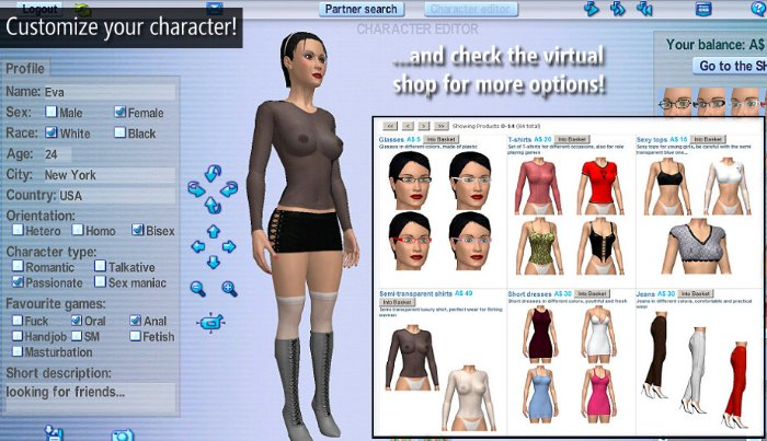 customize your love game character and check the virtual shop